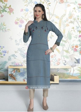 Smoke Grey Color Cotton Kurti