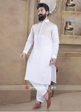 Stylish White Color Pathani Suit