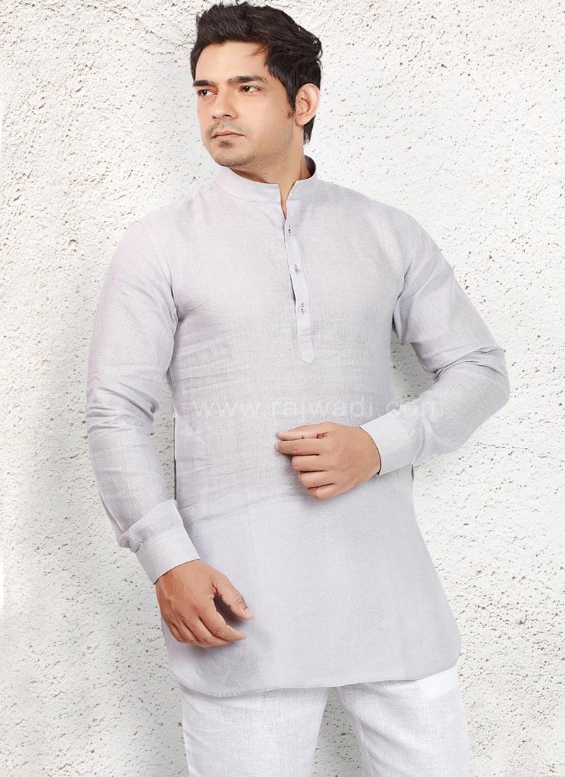 Smoke Grey coloured Pathani Suit