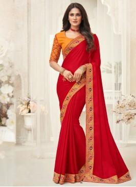 Snazzy Silk Border Red Designer Saree