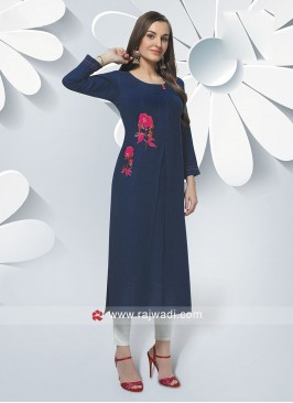 Soft Cotton Navy Blue Kurti
