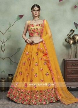 Soft Net Wedding Lehenga Set in Mustard Yellow