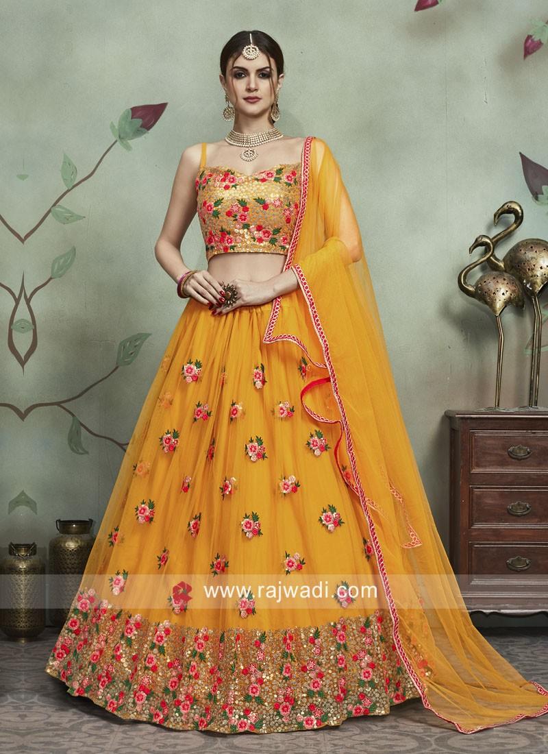 Soft Net Wedding Lehenga Set in Mustard Yellow
