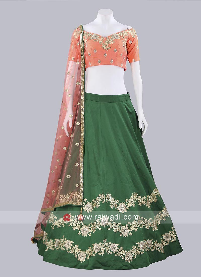 Soft Silk Green and Peach Lehenga Choli