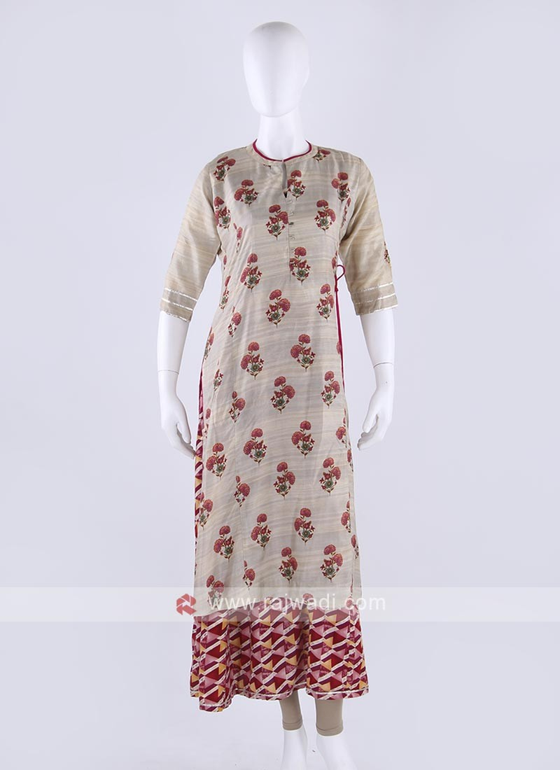Soft silk kurti in beige color