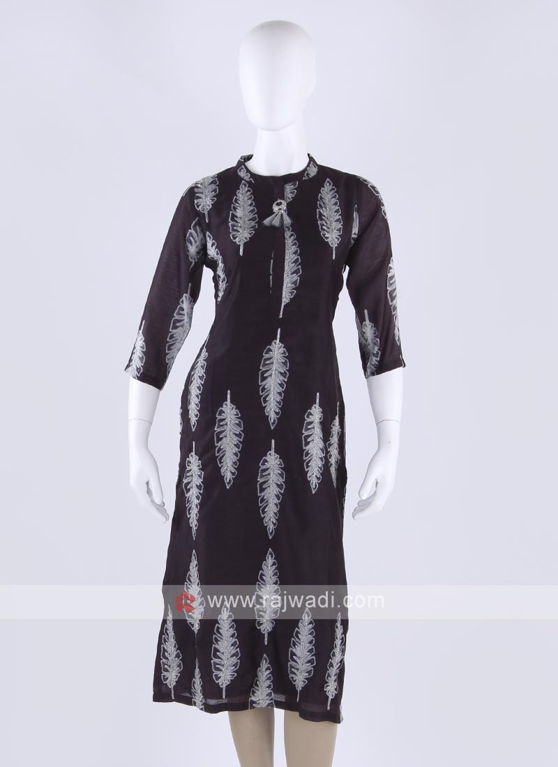 Soft silk kurti in black color
