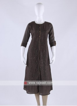 soft silk kurti in brown color