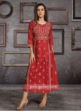 Soft Silk Kurti In Coral