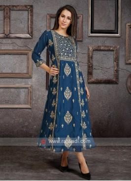 Soft Silk Kurti In Indigo Blue