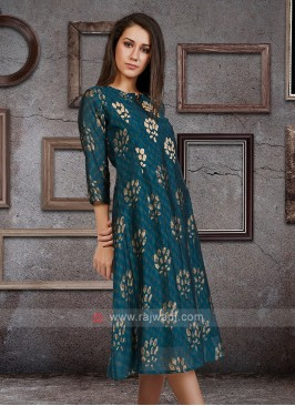 Soft Silk Kurti In Peacock Blue