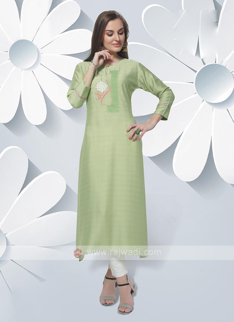 Soft Silk Kurti In Pista Green