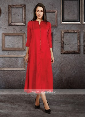 Soft Silk Kurti In Red