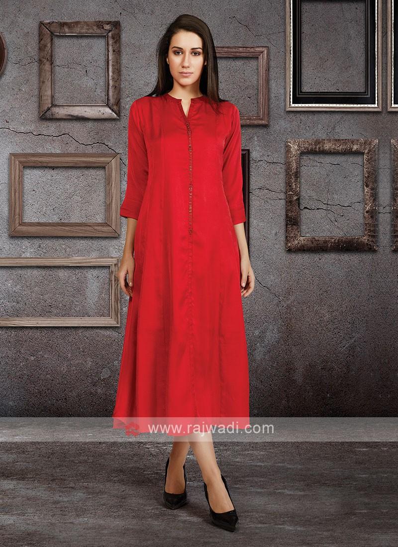 Soft Silk Kurti In Red