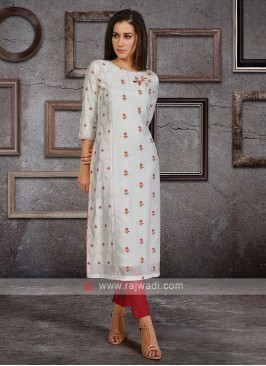 Soft Silk Kurti In White