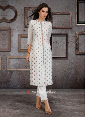 Soft Silk Kurti Set In White