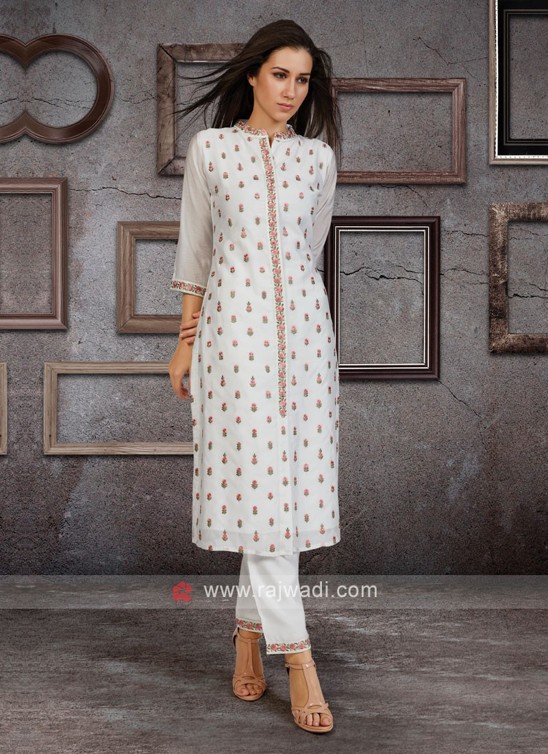 Soft Silk Kurti Set In White