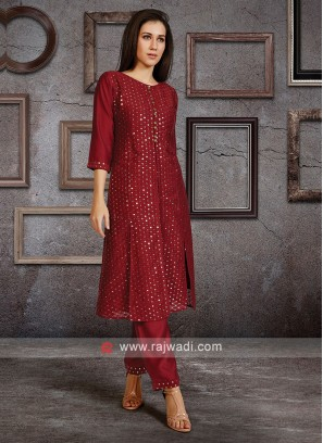 Soft Silk Kurti Set In Wine