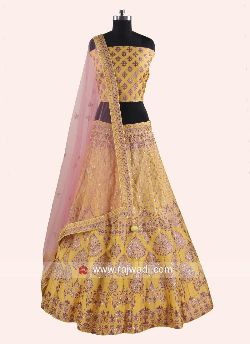 Soft Silk Lehenga Choli in Light Yellow