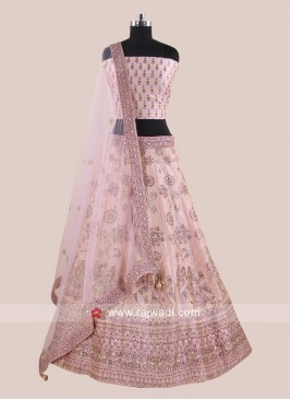 Soft Silk Light Pink Lehenga Set