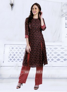 Soft Silk Multi Slit Kurti with Bottom
