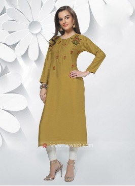 Soft Silk Mustard Color Kurti