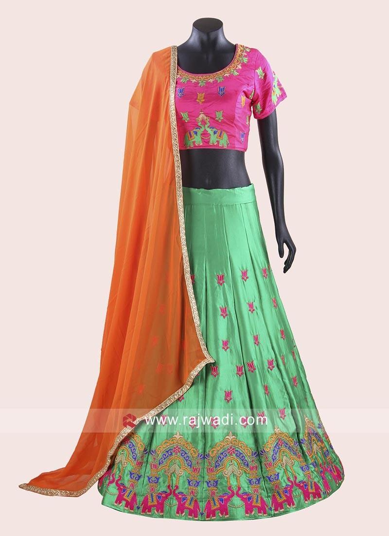 Soft Silk Resham Work Chaniya Choli