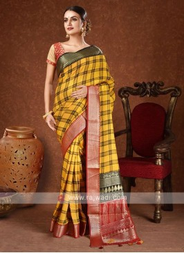 soft silk saree in yellow color
