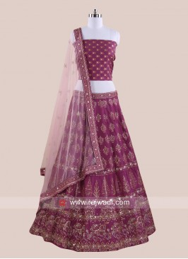 Soft Silk Gorgeous Lehenga Set in Wine