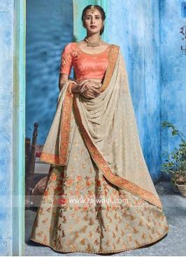 Soft Silk Unstitched Lehenga Set with Dupatta