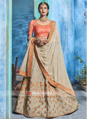 Soft Silk Unstitched Lehenga Set with Dupatta