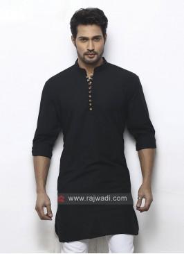 solid black color kurta