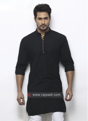 solid black color kurta