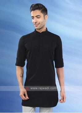 solid black mandarian collar kurta