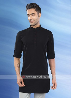 solid black mandarian collar kurta