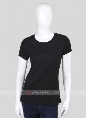 Solid Black Round Neck T-shirt