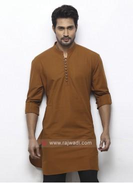 solid brown color kurta