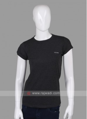 Solid Carbon Black Round Neck T-shirt