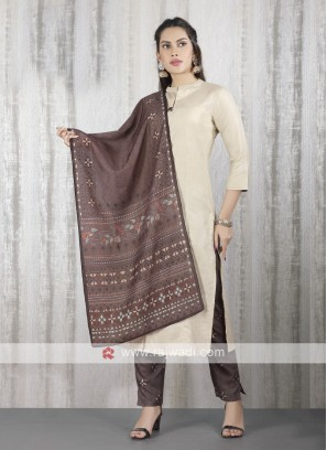 solid cream kurti with burgundy color pant