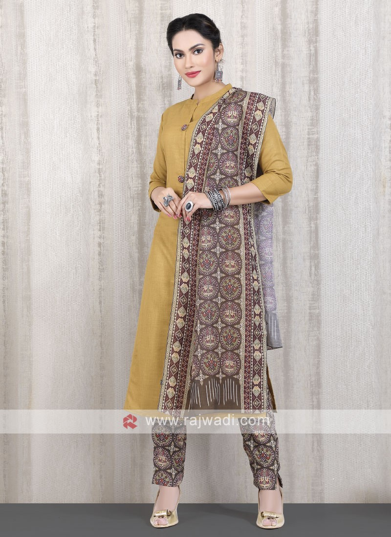 solid dark gold kurti with rust pant