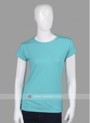 Solid Firozi Round Neck T-shirt