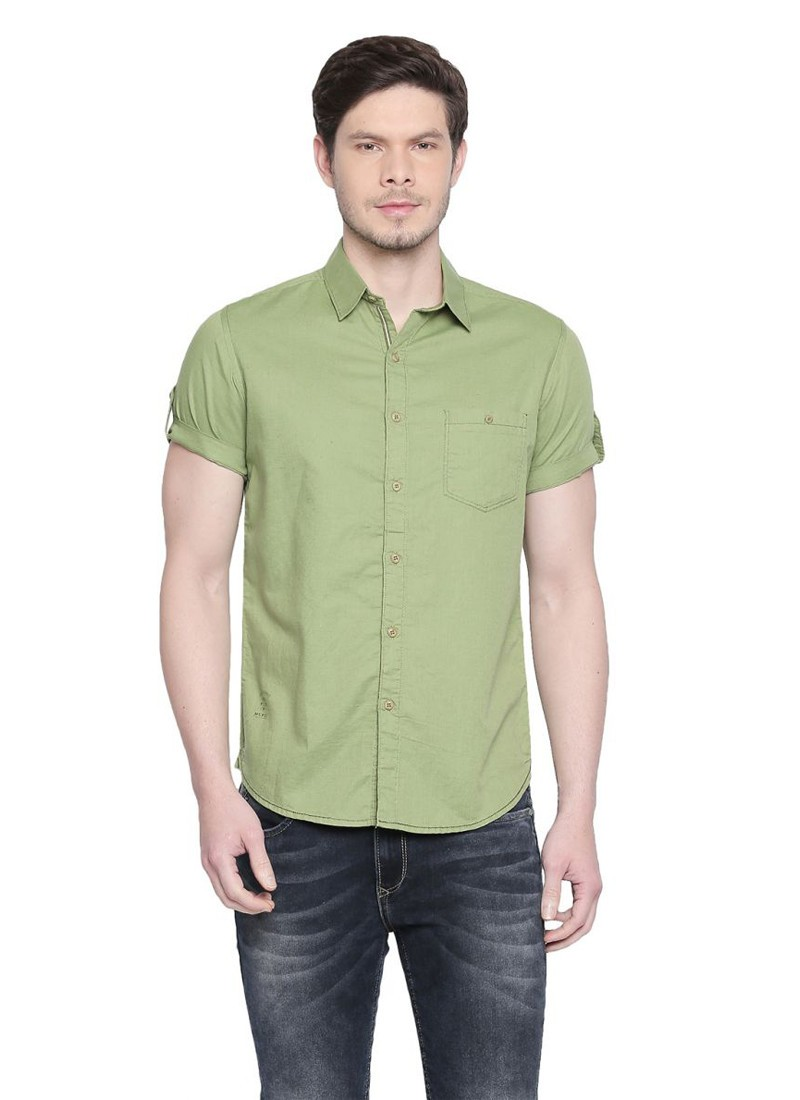 Solid Green Turn Up Half Sleeved Shirt