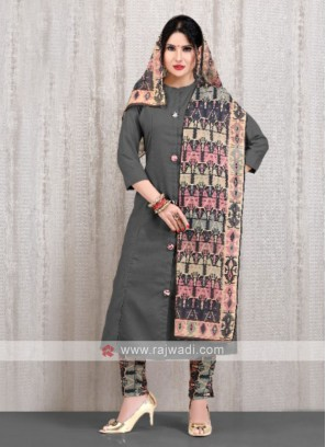 solid grey kurti with multi color pant