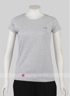 Solid Grey Round Neck T-shirt