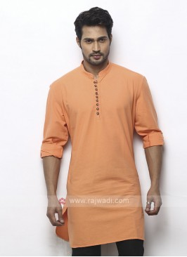 solid light orange color kurta
