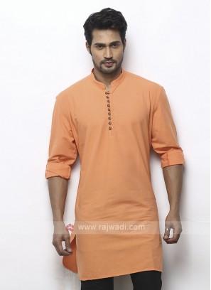 solid light orange color kurta