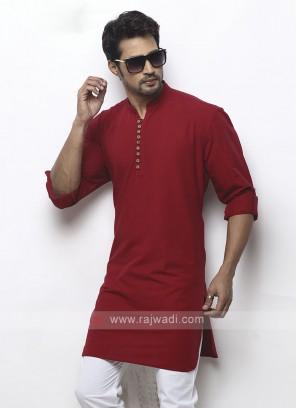 solid maroon color kurta