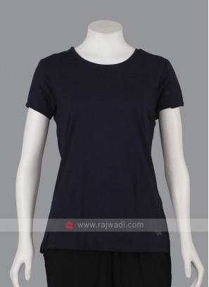 Solid Navy Blue Round Neck T-shirt
