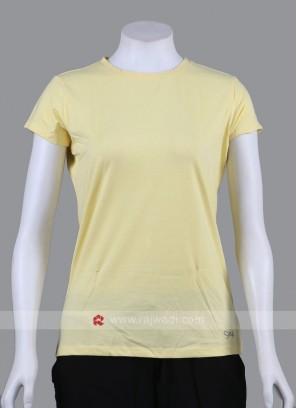 Solid Lemon Yellow Round Neck T-shirt