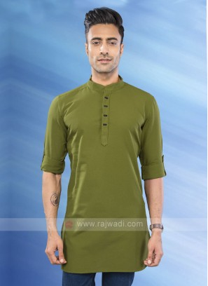 solid mehndi green color kurta