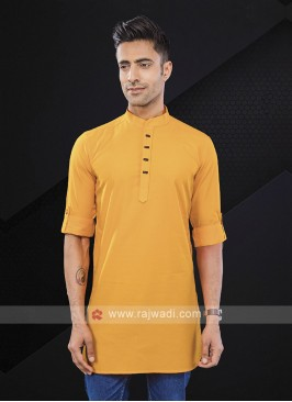 solid mustard yellow color kurta
